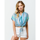 PATRONS OF PEACE Stripe Tie Front Womens Crop Top