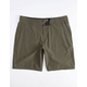 MICROS Chase Dark Green Mens Hybrid Shorts