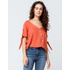 COCO & JAIMESON V-Neck Button Front Womens Top