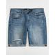 RSQ London Skinny Medium Wash Mens Ripped Denim Shorts