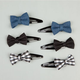 FULL TILT 6 Piece Denim & Plaid Bow Barrettes