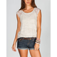 FULL TILT Key Hole Lace Trim Womens Tee