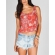 FULL TILT Womens Button Back Crop Top