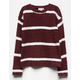 WHITE FAWN Stripe Burgundy Girls Chenille Sweater