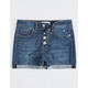 RSQ Sunset High Rise Exposed Button Dark Wash Girls Denim Shorts