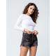 RSQ Vintage High Rise Wash Black Womens Ripped Denim Shorts