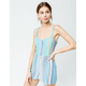 PATRONS OF PEACE Stripe Button Front Womens Romper