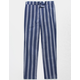 WHITE FAWN Stripe Navy Girls Crop Pants