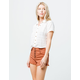 SKY AND SPARROW Exposed Button Rust Womens Mom Shorts