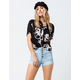SKY AND SPARROW Exposed Button Womens Denim Shorts