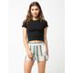 SKY AND SPARROW Stripe Pork Chop Pocket Womens Shorts