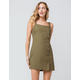 SKY AND SPARROW Linen Side Button Olive Structured Dress