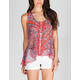 EYESHADOW Paisley Womens Pintuck Top