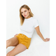 RSQ Venice Mid Rise Mustard Womens Ripped Denim Shorts