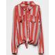 WHITE FAWN Stripe Button Girls Tie Front Top