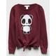 WHITE FAWN Panda Tie Front Burgundy Girls Sweatshirt