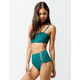 FULL TILT Textured High Waisted Green Bikini Bottoms