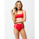 FULL TILT Textured High Waisted Red Bikini Bottoms