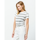 FULL TILT Essentials Multi Stripe Olive Womens Tee