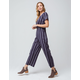 SKY AND SPARROW Stripe Button Front Navy Womens Jumpsuit
