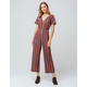 SKY AND SPARROW Stripe Button Front Rust Womens Jumpsuit