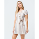 SKY AND SPARROW Stripe Button Front Wrap Dress