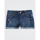 RSQ Malibu Cuff Dark Wash Girls Ripped Denim Shorts