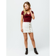 SKY AND SPARROW Corduroy Button Front Ivory Mini Skirt