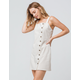 SKY AND SPARROW Linen Side Button Natural Structured Dress