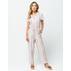 SKY AND SPARROW Button Tie Waist Womens Jumpsuit