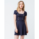 SKY AND SPARROW Double Button Square Neck Navy Fit N Flare Dress