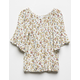 WHITE FAWN Floral Cream Girls Peasant Top