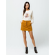SKY AND SPARROW Button Front Twill Mini Skirt