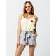 SKY AND SPARROW Tie Waist Linen Womens Shorts