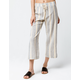 SKY AND SPARROW Stripe Crop Black & Yellow Womens Wide Leg Pants