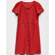 WHITE FAWN Ribbed Button Front Coral Girls Skater Dress