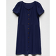 WHITE FAWN Ribbed Button Front Navy Girls Skater Dress