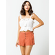 SKY AND SPARROW Exposed Button Soft Rust Womens Shorts