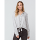 LOVE FIRE Stripe Button & Tie Front Womens Top