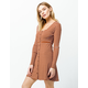SKY AND SPARROW Ribbed Button Front Brown Dress
