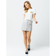 SKY AND SPARROW Stripe Button Front Linen Mini Skirt