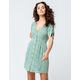 SKY AND SPARROW Ditsy Floral Button Front Sage Dress