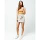 IVY & MAIN Stripe Button Front Linen Skirt
