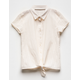 WHITE FAWN Textured Tie Front Girls Shirt