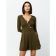 SKY AND SPARROW Asymmetric Button Ribbed Olive Fit N Flare Dress