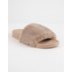 QUPID Faux Fur Taupe Womens Sandals