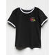 VOLCOM Hey Slims Black Girls Ringer Tee