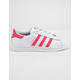 ADIDAS Superstar J White & Light Pink Girls Shoes