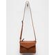 VIOLET RAY Leanna Stud & Braid Cognac Crossbody Bag