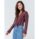 POLLY & ESTHER Button Stripe Burgundy Womens Tie Front Top
